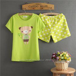 пижама женская, комплект для дома и сна, футболка и шорты