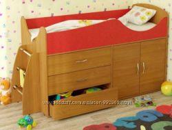 Кровать-чердак детская со шкафчиком и ящиками