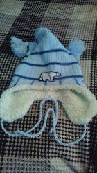 Детская зимняя очень теплая шапка 1-2 года