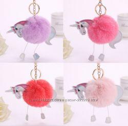 Шикарный брелок Единорог фиолетовый, персиковый, коралловый, розовый