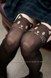 Колготки с эффектом чулков рисунком тату кошка кішка Хеллоуин