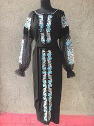 Чёрное платье - вышиванка из льна