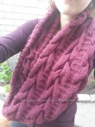 Шерстяной женский шарф снуд хомут вязаный спицами бордо