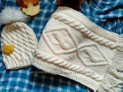 Вязаная шапка и шарф 2 метра ручной работы