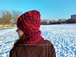 Вязаная шапка и шарф-снуд ручной работы