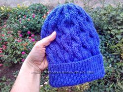 Вязаная шапка из мериноса ручной работы