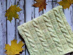 Вязаный шарф-снуд в два оборота из чистой шерсти