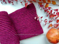 Вязаный объемный шарф-снуд, хомут в два оборота