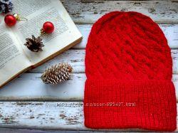 Вязаная шапка из шерсти ручной работы Яблоки на снегу