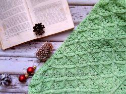 Вязаный шарф-снуд в два оборота из шерсти Молодая зелень