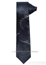 Галстук узкий серый Дракон новый стальной с драконом чоловіча краватка