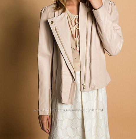 Тренд. новая, тончайшая куртка-косуха Hoss Intropia, 100 кожа. пудра р. 48