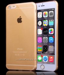 Тонкий силиконовый чехол iphone 6 PLUS золотой, прозрачны, серый