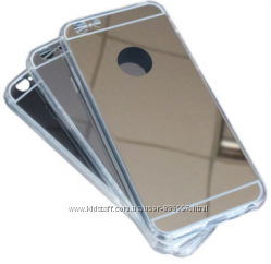 Зеркальные силиконовые чехлы для iphone 7 обода прозрачные
