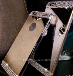 Зеркальный силиконовый чехол стразами для iphone 5 5S 6 6S