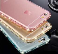 Силиконовые чехлы с камнями Сваровски для Iphone 5 5S 6 6S 6 PLUS