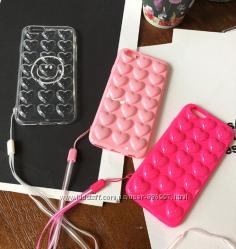Силиконовый чехол розовые или светло розовые Сердца для iPhone 7 7S