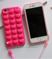 Силиконовый чехол розовые или светло розовые Сердца для iPhone 6 6S