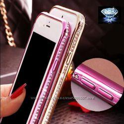 Чехлы силиконовые с камнями Свровски для iphone 5 5s 6 6s 7 7s 7plus