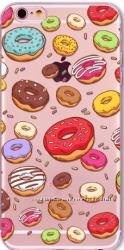 Силиконовый прозрачный чехол с пончиками для iphone 5 5S