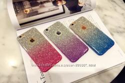 Мерцающий силиконовый розовый и синий чехол для iphone 6 6s