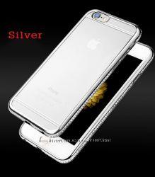 Силиконовый чехол с серебряными камнями Сваровски для Iphone 5 5s 6 6s 7 7p