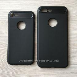 Черный матовый силиконовый чехол iphone 7 7пл 8 8пл упаковка