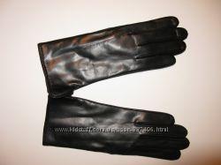 Женские кожаные перчатки на шерстяной подкладке Ж001ЧШ