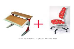 Комплект детской мебели  KD-333  с красными вставками и 618 кресло красное