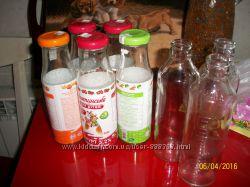 Стеклянные бутылочки с крышками и без от детского питания 200 мл