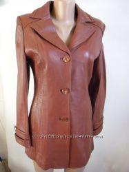 Коричневая куртка - пиджак, натуральная кожа