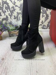 393179c1 Кожаные и замшевые демисезонные ботинки на платформе и каблуке, 975 ...