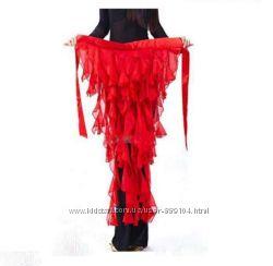 Пояс красный с кисточками, для танцев