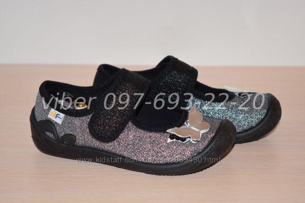 Текстильные тапочки Тм 3F Atena 3A35 для девочки мокасины р. 26-31