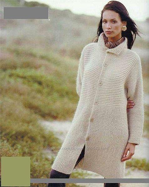Пальто вязаное, ручная работа