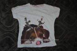 новогодняя футболка H&M девочке на 8-9 лет рост 128-134 см Англия