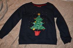 новогодний женский свитер свитшот размер М-38 uk10 Англия