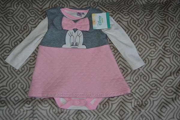 Новый комплект платье бодик Disney 3-6 мес рост 62-68 Англия