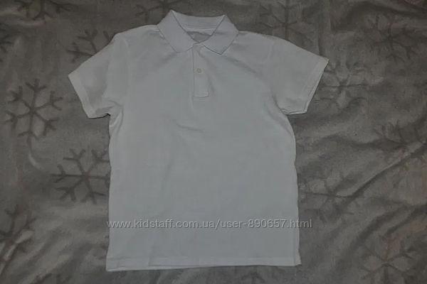 Новая белая футболка поло F&F на 10 лет рост 140 Англия