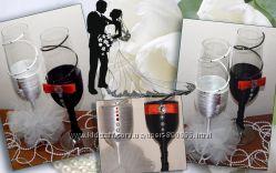 Оформление свадебного шампанского, бокалов и рамочек