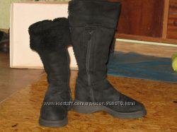 Зимние замшевые сапоги, натуральный мех