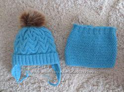 супер комплект набор шапка шапочка на флисе и хомут