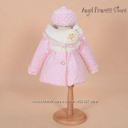 Красивое весенне пальто с беретом комплект на девочку