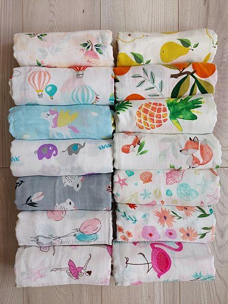 Бамбуковые муслиновые пеленки 120х120 бамбукові муслінові пелюшки
