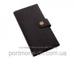 Кошелек кожаный ручная работа, портмоне Vintage на кнопке