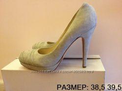Итальянские замшевые серые туфли 38, 5 39, 5