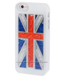 Чехол Swarovski Британский флаг Белый для iPhone 5-5S
