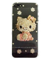 Чехол Hello Kitty 3D Swarovski Прозрачный для iPhone 5-5S
