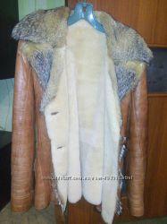 Кожаная куртка зимняя овчинка теплая