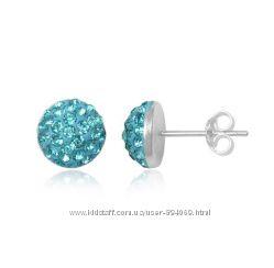 925 проба серьги гвоздики с кристаллами preciosa crystals.